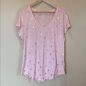 NWOT Old Navy Pink with Gold Print T-shirt XL